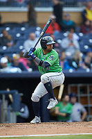 Andres Blanco (13) of the Gwinnett Braves at bat against the Durham Bulls at Durham Bulls Athletic Park on April 20, 2019 in Durham, North Carolina. The Bulls defeated the Braves 11-3 in game one of a double-header. (Brian Westerholt/Four Seam Images)