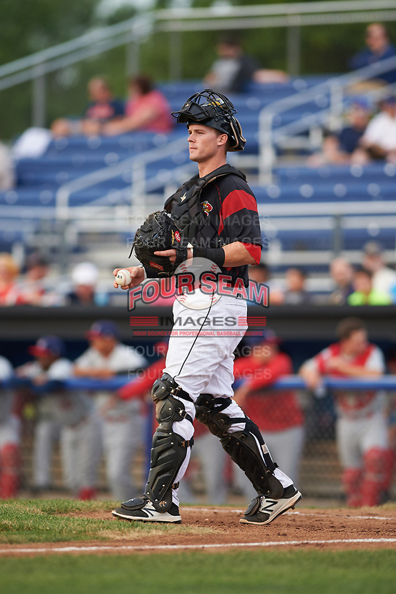 Batavia Muckdogs catcher Alex Jones (43) during a game against the Auburn Doubledays on July 6, 2017 at Dwyer Stadium in Batavia, New York.  Auburn defeated Batavia 4-3.  (Mike Janes/Four Seam Images)
