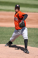 April 22nd, 2007:  Rosman Garcia of the Bowie Baysox, Class-AA affiliate of the Baltimore Orioles at Jerry Uht Park in Erie, PA.  Photo by:  Mike Janes/Four Seam Images