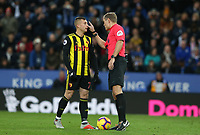 Referee Graham Scott interacts with Watford's Gerard Deulofeu <br /> <br /> Photographer Stephen White/CameraSport<br /> <br /> The Premier League - Leicester City v Watford - Saturday 1st December 2018 - King Power Stadium - Leicester<br /> <br /> World Copyright © 2018 CameraSport. All rights reserved. 43 Linden Ave. Countesthorpe. Leicester. England. LE8 5PG - Tel: +44 (0) 116 277 4147 - admin@camerasport.com - www.camerasport.com