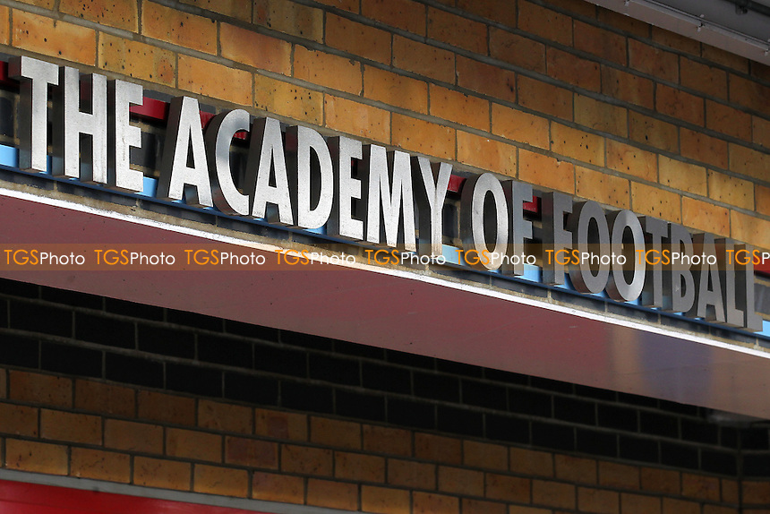 The Academy of Football sign ahead of West Ham United Ladies vs Tottenham Hotspur Ladies, FA Women's Premier League Football at the Boleyn Ground, Upton Park