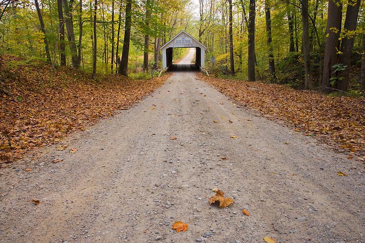 The Zache Coxl Covered Bridge in the fall; Parke County, IN