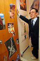 Issei Sagawa, the notorious Japanese cannibal, show some of the collages next to his toilet on the walls of his apertment. Sagawa killed and ate  Dutch student Renee Hartevelt while studying in Paris in 1981. He was released in Japan due to political connections after being jailed then placed in a mental institution in Paris. <br /> 14-DEC-05