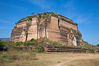 Myanmar, Burma.  Mingun Paya, near Mandalay.  Begun in 1790, this is the base of a pagoda planned to be 500 feet tall.  Construction ended in 1819 when King Bodawpaya died.  Four people can be seen on the top, near the middle.