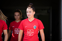 CARY, NC - SEPTEMBER 12: Angharad James #34 of the NC Courage exits the tunnel for warm-ups before a game between Portland Thorns FC and North Carolina Courage at WakeMed Soccer Park on September 12, 2021 in Cary, North Carolina.
