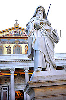 Statue St. Paul in the Basilica of St. Paul Outside the Walls in Rome, worldwide meeting of bishops ,Pope Benedict XVI celebrates a Mass in the Basilica of St. Paul Outside the Walls in Rome, Sunday, Oct. 5, 2008 to open a worldwide meeting of bishops on the relevance of the Bible for contemporary Catholics.