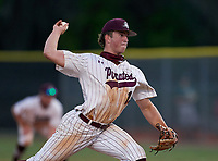 Braden River Pirates pitcher Logan Waldschmidt (15) during a game against the Venice Indians on February 25, 2021 at Braden River High School in Bradenton, Florida. (Mike Janes/Four Seam Images)