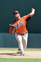 Baltimore Orioles pitcher Brian Gonzalez (59) during an Instructional League game against the Tampa Bay Rays on September 15, 2014 at Ed Smith Stadium in Sarasota, Florida.  (Mike Janes/Four Seam Images)