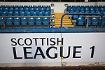 Greenock Morton 2 Stranraer 0, 21/02/2015. Cappielow Park, Greenock. An pitch side advert for Scottish League 1, pictured before Greenock Morton take on Stranraer in a Scottish League One match at Cappielow Park, Greenock. The match was between the top two teams in Scotland's third tier, with Morton winning by two goals to nil. The attendance was 1,921, above average for Morton's games during the 2014-15 season so far. Photo by Colin McPherson.