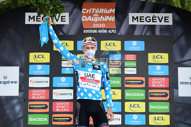 David de la Cruz (ESP) UAE Team Emirates wins the mountains Polka Dot Jersey at the end of Stage 5 of Criterium du Dauphine 2020, running 153.5km from Megeve to Megeve, France. 16th August 2020.<br /> Picture: ASO/Alex Broadway | Cyclefile<br /> All photos usage must carry mandatory copyright credit (© Cyclefile | ASO/Alex Broadway)