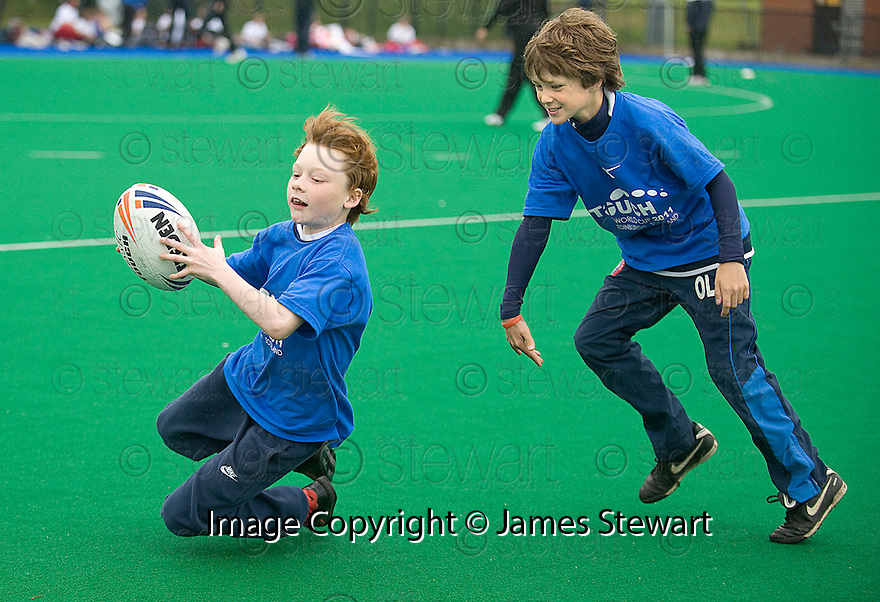 PUPILS FROM FLORA STEVENSON PRIMARY TAKE PART IN THE TOUCH WORLD CUP YOUTH FESTIVAL AT PEFFERMILL.