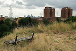 Clays Lane, East London University student accommodation blocks East London the site of the 2012 Olympic Games village and arena, Hackney Marsh, Stratford, England 2006. Canary Wharf, Canada Tower in distance.