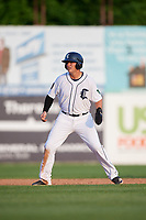 Connecticut Tigers left fielder Daniel Reyes (55) leads off second base during a game against the Lowell Spinners on August 26, 2018 at Dodd Stadium in Norwich, Connecticut.  Connecticut defeated Lowell 11-3.  (Mike Janes/Four Seam Images)