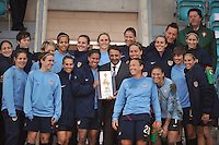 The US Women's National Soccer Team are given the Algarve Cup Championship Trophy at Estadio do Algarve in Faro, Portugal at the 2010 Algarve Cup.