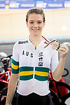 Amy Cure of Australia receives her bronze medal at the Women's Omnium Points Race 4/4 prize ceremony during the 2017 UCI Track Cycling World Championships on 14 April 2017, in Hong Kong Velodrome, Hong Kong, China. Photo by Chris Wong / Power Sport Images