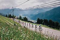 front group led by polka-dot jersey /KOM leader Dario Cataldo (ITA/Astana) up the first climb of the day: the Montée de Bisanne<br /> <br /> Stage 6: Frontenex > La Rosière Espace San Bernardo (110km)<br /> 70th Critérium du Dauphiné 2018 (2.UWT)