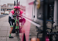 Matti Breschel (DEN/Education First-Drapac) dissapearing into the teambus before the start<br /> <br /> 106th Scheldeprijs 2018 (1.HC)<br /> 1 Day Race: Terneuzen (NED) - Schoten (BEL)(200km)