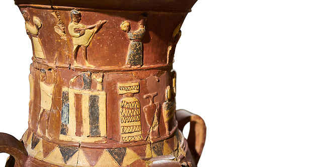 Close up of the Inandik Hittite relief decorated cult libation vase decorated with a women and man relief figures coloured in cream, red and black playing instruments, in the register below is a cult altar, mid to late 16th century BC - İnandıktepe, Turkey. Against a white background