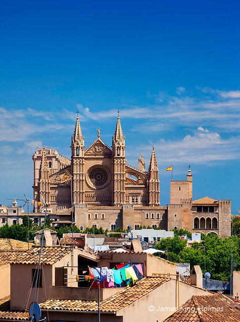 Cathedral and skyline of Palma de Mallorca, Spain seen from the Es Baluard Museum of Modern Art.