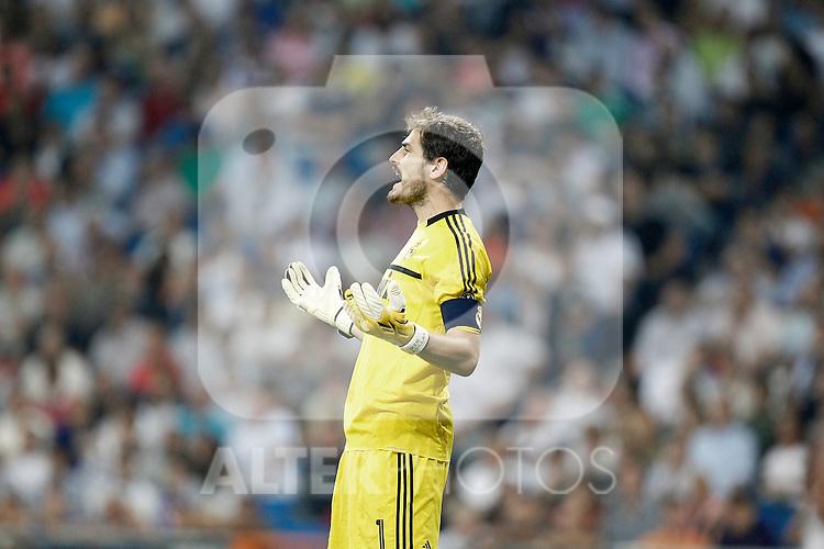 Real Madrid's Iker Casillas reacts during UEFA Champions League match. September 27, 2011. (ALTERPHOTOS/Alvaro Hernandez)