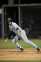 AZL Padres 1 right fielder Agustin Ruiz (24) starts down the first base line during an Arizona League game against the AZL Cubs 1 at Sloan Park on July 5, 2018 in Mesa, Arizona. The AZL Cubs 1 defeated the AZL Padres 1 3-1. (Zachary Lucy/Four Seam Images)