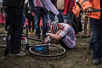 The Koppenberg is a brute.<br /> Jens Dekker (NED/Corendon Circus) after finishing 8th.<br /> <br /> Men U23 race.<br /> Koppenbergcross Belgium 2018