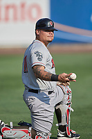 Bruce Maxwell (11) of the Nashville Sounds before the game against the Salt Lake Bees at Smith's Ballpark on July 28, 2018 in Salt Lake City, Utah. The Bees defeated the Sounds 11-6. (Stephen Smith/Four Seam Images)