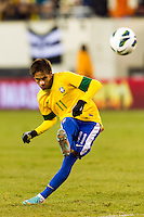 Neymar (11) of Brazil takes a free kick. Brazil (BRA) and Colombia (COL) played to a 1-1 tie during international friendly at MetLife Stadium in East Rutherford, NJ, on November 14, 2012.