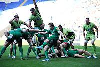 Darren Allinson of London Irish sends up a box kick during the Premiership Rugby match between London Irish and Northampton Saints at the Madejski Stadium on Saturday 4th October 2014 (Photo by Rob Munro)