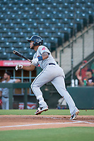AZL Indians 2 first baseman Henderson De Oleo (17) starts down the first base line during an Arizona League game against the AZL Angels at Tempe Diablo Stadium on June 30, 2018 in Tempe, Arizona. The AZL Indians 2 defeated the AZL Angels by a score of 13-8. (Zachary Lucy/Four Seam Images)