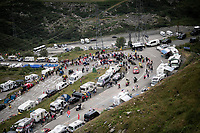 race leader Vincenzo Nibali (ITA/Bahrain-Merida) 2 km from the finish in Val thorens<br /> <br /> shortened stage 20: Albertville to Val Thorens (59km in stead of the original 130km due to landslides/bad weather)<br /> 106th Tour de France 2019 (2.UWT)<br /> <br /> ©kramon
