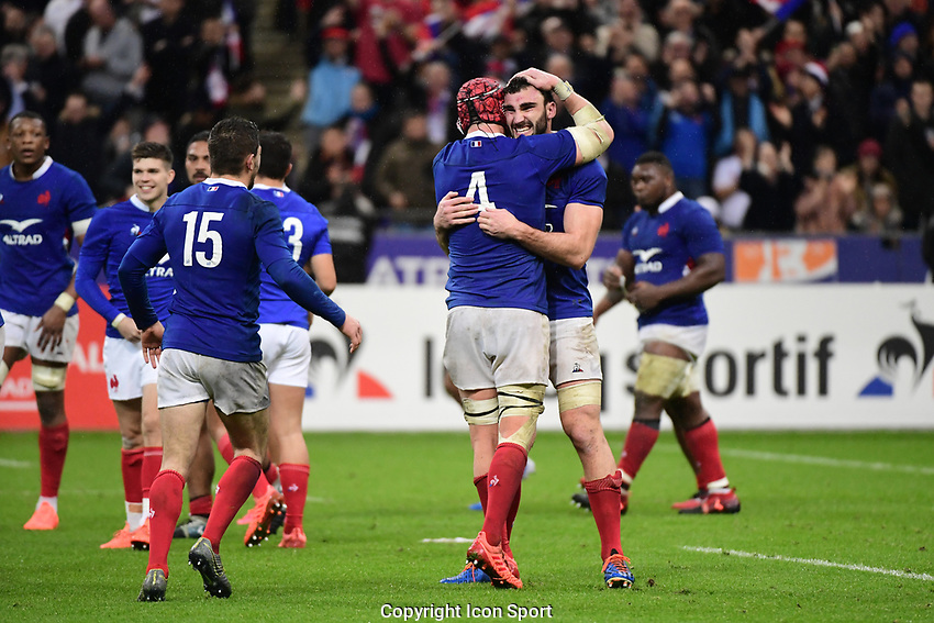(R-L) Charles OLLIVON of France celebrates with Bernard LE ROUX of France after their side wins the Six Nations match Tournament between France and England at Stade de France on February 2, 2020 in Paris, France. (Photo by Dave Winter/Icon Sport) - Stade de France - Paris (France)