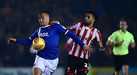 Exeter City's Kane Wilson shields the ball from Lincoln City's Bruno Andrade<br /> <br /> Photographer Andrew Vaughan/CameraSport<br /> <br /> The EFL Sky Bet League Two - Lincoln City v Exeter City - Tuesday 26th February 2019 - Sincil Bank - Lincoln<br /> <br /> World Copyright © 2019 CameraSport. All rights reserved. 43 Linden Ave. Countesthorpe. Leicester. England. LE8 5PG - Tel: +44 (0) 116 277 4147 - admin@camerasport.com - www.camerasport.com