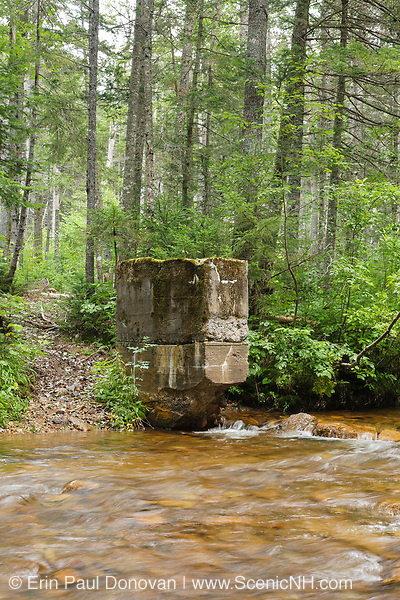 Remnants of the Anderson Brook Gage from the 1911-1912 study at Stillwater Junction in the Pemigewasset Wilderness of the New Hampshire White Mountains. A timber bridge of the old East Branch & Lincoln Logging Railroad (1893-1948) was located just downstream (left side) from this Gage abutment. The bridge crossed the brook at an angle, and this branch of the railroad lead to Camp 19. This abutment has fallen over since this photo was taken.