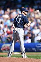 Milwaukee Brewers pitcher Will Smith (13) looks in for the sign during a game against the Chicago Cubs on August 14, 2014 at Wrigley Field in Chicago, Illinois.  Milwaukee defeated Chicago 6-2.  (Mike Janes/Four Seam Images)