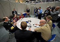 """130131-N-DR144-577 .SAN DIEGO (Jan. 31, 2013) Chief of Naval Operations (CNO) Adm. Jonathan Greenert speaks to reporters during a press availability at the Armed Forces Communications and Electronics Association (AFCEA) / U.S. Naval Institute (USNI) West 2013 conference. During the conference Greenert joined Commandant of the Marine Corps Gen. James F. Almos and Commandant of the Coast Guard Adm. Robert J. Papp Jr. in a roundtable discussion panel addressing the convention's theme, """"Pivot to the Pacific: What are the Practical and Global implications?"""" as well as the potential effects of budget cuts on the military's operations and maintenance activities. (U.S. Navy photo by Mass Communication Specialist 1st Class James R. Evans/Released)."""