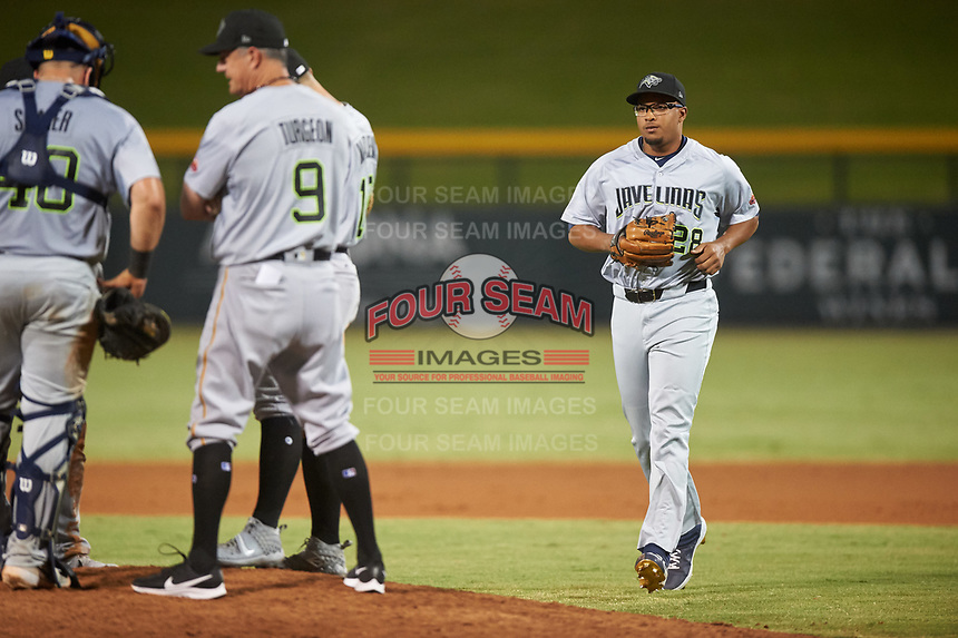 Peoria Javelinas relief pitcher Aaron Fletcher (28), of the Seattle Mariners organization, jogs toward the mound during an Arizona Fall League game against the Mesa Solar Sox on September 21, 2019 at Sloan Park in Mesa, Arizona. Mesa defeated Peoria 4-1. (Zachary Lucy/Four Seam Images)