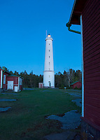 The first stars appear in the twilight sky at Säppi lighthouse in the Gulf of Bothnia southwest of Pori, Finland.