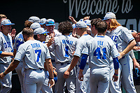 Duke Blue Devils shortstop Ethan Murray (1) celebrates a home run with teammates during the game against the Wright State Raiders in NCAA Regional play on Robert M. Lindsay Field at Lindsey Nelson Stadium on June 5, 2021, in Knoxville, Tennessee. (Danny Parker/Four Seam Images)