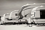 New and used travel trailers in snow. Roans, Route 15, Lycoming County, PA