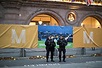 © Joel Goodman - 07973 332324 . 02/10/2017. Manchester, UK. Armed police on duty outside the Midland Hotel at the start of te second day of the Conservative Party Conference at the Manchester Central Convention Centre . Photo credit : Joel Goodman
