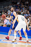 Real Madrid's Sergio Rodriguez and UCAM Murcia's Carlos Cabezas during the first match of the playoff at Barclaycard Center in Madrid. May 27, 2016. (ALTERPHOTOS/BorjaB.Hojas)