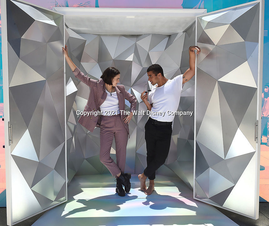 """SANTA MONICA, CA - JUNE 11: Ava Capri and Mason Gooding pose for a photo at a special photo-activation in honor of Pride Month and the Season 2 premiere of the Hulu Original Series """"Love, Victor,"""" on June 11, 2021 in Santa Monica, California. (Photo by Frank Micelotta/Hulu/PictureGroup)"""