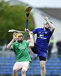 Oisin O Reilly of Limerick in action against Jamie Power of Clare during their Munster U-21 hurling quarter final at Cusack park. Photograph by John Kelly.