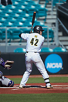 Garrett Hodges (42) of the Kennesaw State Owls at bat against the Western Carolina Catamounts at Springs Brooks Stadium on February 22, 2020 in Conway, South Carolina. The Owls defeated the Catamounts 12-0.  (Brian Westerholt/Four Seam Images)