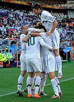 Valter Birsa of Slovenia celebrates his goal with team-mates