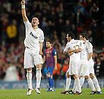 Real Madrid's Pepe celebrates victory during la liga match on april 21st 2012...Photo: Cesar Cebolla / ALFAQUI