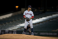 AZL Indians 2 relief pitcher Francisco Lopez (43) prepares to deliver a pitch during an Arizona League game against the AZL Angels at Tempe Diablo Stadium on June 30, 2018 in Tempe, Arizona. The AZL Indians 2 defeated the AZL Angels by a score of 13-8. (Zachary Lucy/Four Seam Images)
