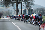 The peloton strung out during the 107th edition of Liege-Bastogne-Liege 2021, running 259.1km from Liege to Liege, Belgium. 25th April 2021.  <br /> Picture: A.S.O./Aurelien Vialatte | Cyclefile<br /> <br /> All photos usage must carry mandatory copyright credit (© Cyclefile | A.S.O./Aurelien Vialatte)