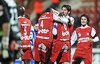 KV Kortrijk - KRC Genk : vreugde bij Kortrijk nadat men de 2-0 scoorde.foto VDB / BART VANDENBROUCKE